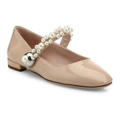 Miu Miu Pearl Bead Trim Patent Leather Mary Jane Flats ($750) ❤ liked on Polyvore featuring shoes, flats, cipria, miu miu mary jane, patent leather flats, miu miu shoes, patent mary jane shoes and maryjane flats