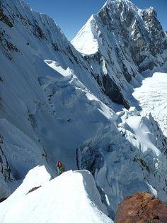 Climbing in Cordillera Huayhuash, Peru (by Silvio in America del Sud).