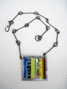Colorful Striped Tin Necklace Handmade Steel Chain. $38.00, via Etsy.