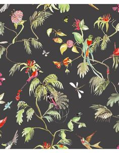 Paradijs van vogels behang zwart/ kleur - Designed for Living - Glamour Concept Store