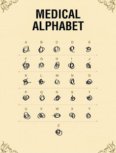 Medical Alphabet... I can't claim this (one of the few docs on the planet with readable handwriting), but it makes me smile...