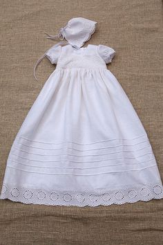793e1050a Baby girl baptism dress girl heirloom linen gown special occasion newborn  girl blessing outfit natural coming home white dress hat vintage