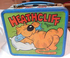 Vintage Metal Lunch Box 1982 HEATHCLIFF CARTOON STRIP ALADDIN INDUSTRIES