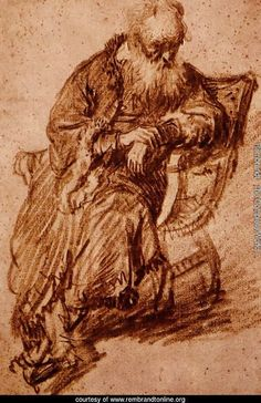 rembrandt seated old man-1630
