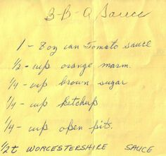 Handwritten BBQ Sauce Recipe