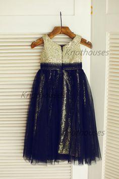 Gold Sequin Black Tulle Flower Girl Dress Children by knothouses