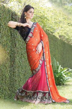 Trendy Pink georgette Half and half plain party wear saree in multi colour border along with orange zari worked pallu