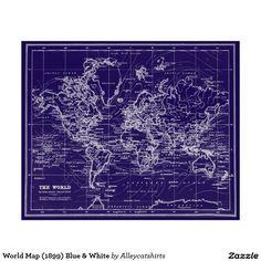 World Map (1899) Blue & White Poster