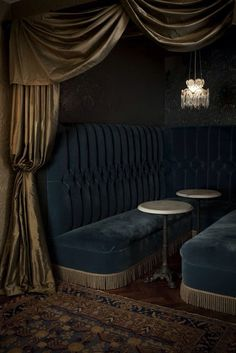 velvet nook/ would be a fun lounge area in home next to a wet bar Rideaux Design, Retro Lounge, Jazz Lounge, Beautiful Curtains, Soho House, Dark Interiors, Curtain Designs, My Living Room, Restaurant Design