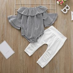 Baby Girl Striped Doll Collar Bell Sleeves Bodysuit and Ripped Pants Set Cute Baby Girl Outfits, Cute Outfits For Kids, Baby Outfits Newborn, Baby Girl Newborn, Toddler Outfits, Baby Gap, Baby Clothes Patterns, Baby Kids Clothes, Baby Clothes Shops