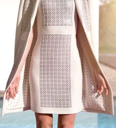 St. John Knits Couture: A glamorous white dress and matching topper jacket with silver accents   StJohnKnits.com