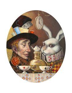 Tea Time ~ Alice in Wonderland ~ Vladimir Ovtcharov Lewis Carroll, Alice In Wonderland Illustrations, Chesire Cat, Rabbit Art, Rabbit Hole, Alice Madness, Alice In Wonderland Tea Party, Fairytale Art, Mad Hatter Tea