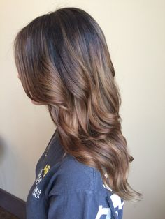 Brown hair color balayage light brown ombré chestnut brunette chocolate waves style curls beachy