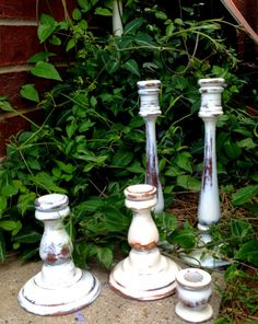 Set of Vintage Distressed Candle Holders by ElizabethLaneBoutiqu, $40.00