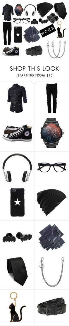 """Work Attire"" by sinnnamon ❤ liked on Polyvore featuring Valentino, Converse, Master & Dynamic, EyeBuyDirect.com, Givenchy, Burton, Cufflinks, Inc., Black, Yves Saint Laurent and Dsquared2"