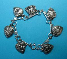 Vintage Sterling Silver Puffy Heart Charms & Key Bracelet - 1940s