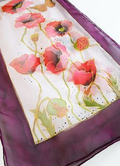Poppies Silk Scarf Poppy flower scarf Hand Painted scarf