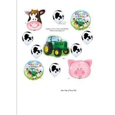 Barn Farm Animals Birthday Party Cow Tractor Pig Balloons Decorations Supplies