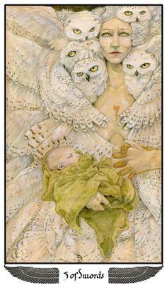 Athena, Five of Swords - Mary-El Tarot http://tarotsmyth.wordpress.com/2014/02/13/athena-5-of-swords/