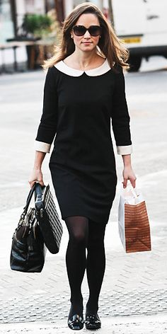 Kate Middleton's stylish sister went shopping in London in a black and white Suzannah dress.