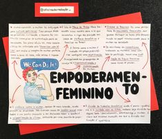 Female empowerment is a term that has gained visibility in recent years. Portuguese Grammar, Mental Map, Study Cards, Global Citizenship, Bullet Journal Notes, Letter E, Study Notes, Student Life, Study Tips