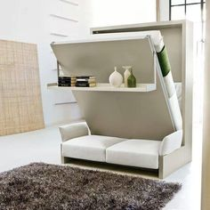 Stowaway bed with sofa and wall/shelf...awesome for a small studio apartment or teenagers room