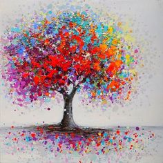 Canvas Painting Ideas Fashion Framed Colorful Tree Abstract Picture Canvas Print Paintings Home Wall Art Decor Wall Painting Decor, Dot Art Painting, Wall Art Decor, Abstract Pictures, Canvas Pictures, Ornament Drawing, Mini Canvas Art, Colorful Trees, Tree Art