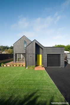 The exterior is a beauty, stained in strong Resene Pitch Black. Modern Farmhouse Exterior, Modern Farmhouse Kitchens, Residential Architecture, Architecture Design, Modern Barn, Facade House, Kit Homes, Modern House Design, Building A House