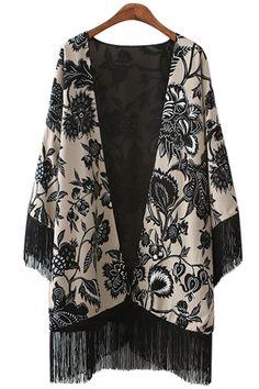 Black Floral Print Fringe Long Sleeve Kimono