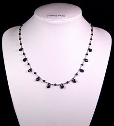 Natural Sapphire and Sterling Silver Necklace  by TheSilverBear, $170.00