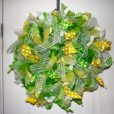 Deco mesh wreath John Deere colors MADE BY LW