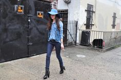 love the jeans, leather boots, and jean/chambray top with hat pic. inexplicably.     http://talesofendearment.com/?p=5404