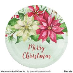 Shop Watercolor Red White Poinsettia Floral Christmas Paper Plate created by SpecialOccasionCards. Christmas Holidays, Merry Christmas, Christmas Paper Plates, Special Text, Watercolor Red, Party Tableware, Paper Napkins, Poinsettia, Biodegradable Products