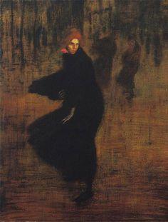 """ Gust of Wind "", 1895 Huile/toile de Théophile Alexandre Steinlen"