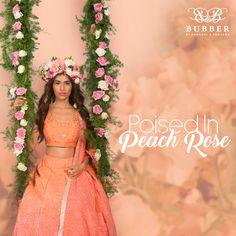 Peach Rose, Bespoke Tailoring, Indian Wear, Lehenga, Maps, Coral, Lily, Two Piece Skirt Set, Bridesmaid