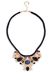 Black and Gold-Tone Cabochon Statement Necklace($9.99) 80% Off #dress