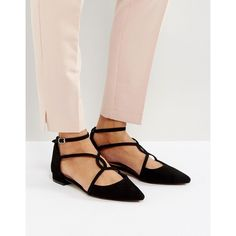 ASOS LAST NIGHT Ballet Flats ($29) ❤ liked on Polyvore featuring shoes, flats, black, black flat shoes, pointed-toe flats, pointed toe ballet flats, strappy ballet flats and black ballet flats