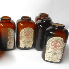 Vintage+8+pc+Levi+Tobacco+Scotch+&+Rappee+Snuff+brown+bottles+glassware+5.58+oz+apothecary+jars #Vintage 8 pc #Levi #Tobacco #Scotch & Rappee #Snuff #brown #bottles #glassware 5.58 oz #apothecary #jars