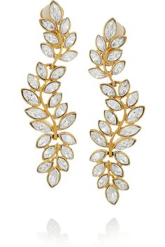 Kenneth Jay Lane22-K and Swarovski Crystal Earrings