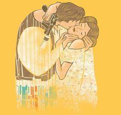 Star Wars Gustav Klimt KISS Princess Leia Han Solo Mashup