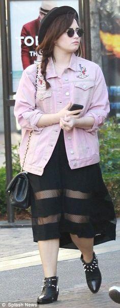 Demi Lovato wears Topshop's Moto Betty Boop jean jacket, (IN PINK!)