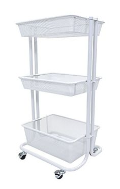 Luxor 3 Shelf Multipurpose Rolling Kitchen Utility Cart Steel - White