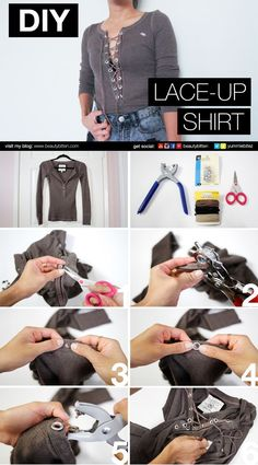 Check the way to make a special photo charms, and add it into your Pandora bracelets. #DIY Lace-up Shirt Picture-by-Picture instructions. How to update your old henley shirts. No sewing involved. Please visit my blog or Youtube channel  for DIY video (https://youtu.be/jQZYVg6SiJ0)