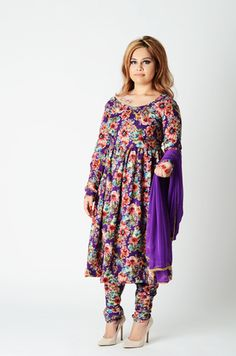 An array of floral motifs on a with purple base. A rich, heavier woven cotton blend, perfect for evenings. Duppatta trimmed with pearls as a delicate accent. Woven Cotton, Floral Motif, Anarkali, Indian Fashion, Delicate, Bohemian, Base, Pearls, Purple