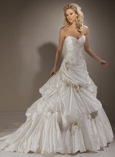 Ball Gown Strapless Chapel Train Charming Taffeta with appliques wedding dress