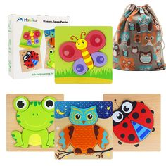 Moruska Wooden Jigsaw Puzzles for Toddlers 1 2 3 Year Old Kids Animal Pattern Shape Puzzles Fine Motor Skill Montessori Toy for Babies Boys and Girls *** Check out the image by visiting the link. (This is an affiliate link)