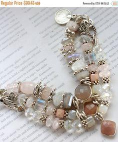 Bracelet, chalcedony bracelet, moonstone bracelet, pink opal bracelet, bohemian bracelet, christmas for her, gifts for her