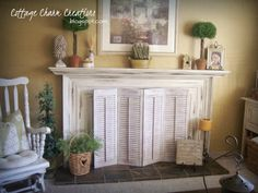 Newest Free small Fireplace Screen Strategies DIY fireplace screen with shutters. A few hinges later and a fresh coat of paint…voila! Farmhouse Fireplace Screens, Wooden Fireplace, Fireplace Redo, Fireplace Cover, Fireplace Built Ins, Fireplace Mantle, Fireplace Design, Fireplace Ideas, Decorative Fireplace Screens