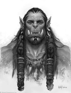 Wei Wang - The Art of Warcraft Film - Durotan Art Warcraft, World Of Warcraft Orc, Fantasy Warrior, Fantasy Rpg, Medieval Fantasy, Orc Warrior, Final Fantasy, Character Portraits, Movie Posters