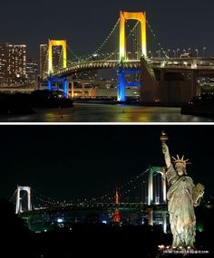 Standing out from Tokyo's brilliant nighttime neon glow isn't easy but the Rainbow Bridge accomplishes it with ease. Spanning Tokyo Bay from the Shibaura Pier to Odaiba, the 1,903 ft (580 m) suspension bridge was completed in 1993 and its name was chosen by the public. Oh, the Statue of Liberty? Not to worry, it's just a replica!